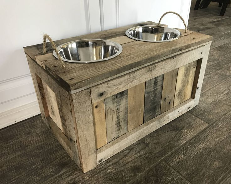 Raised Dog Bowls with Storage Dog Bowls with Storage Dog Food Stand with Storage Dog Feeder Rustic Dog Stand Raised Pallet Dog Dish Stand by TwoMooseDesign on Etsy