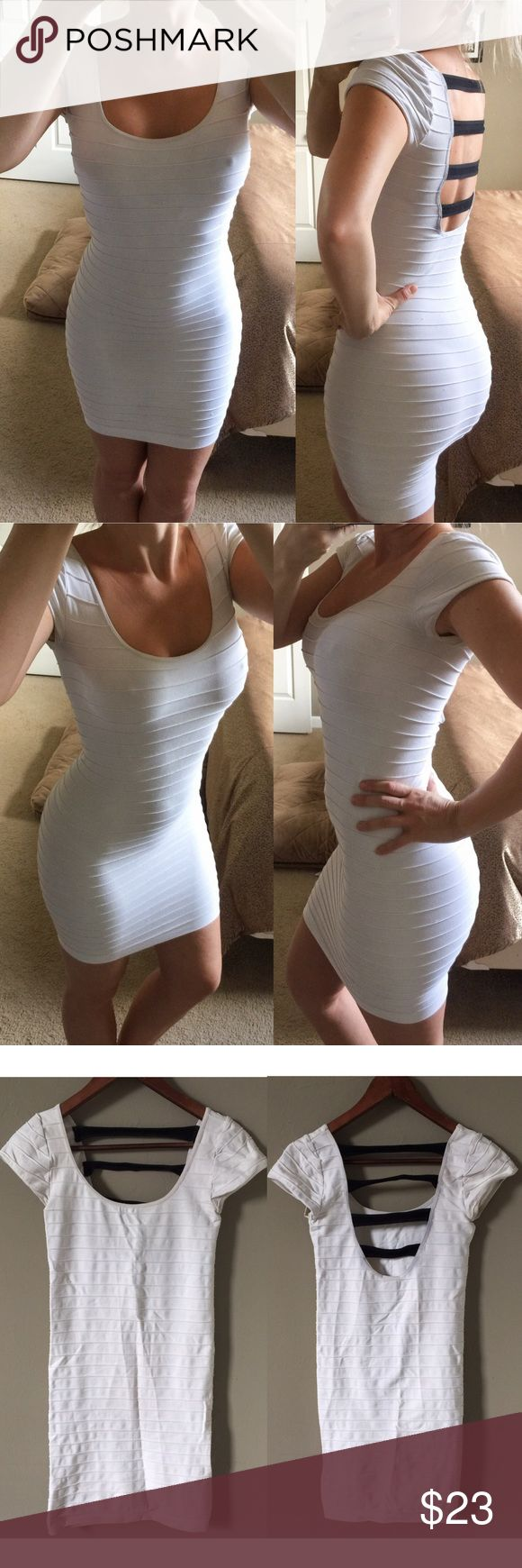 HP🎉 Bebe white ribbed strappy bandage dress S P ~~*~~ 🎉 HP Wardrobe Goals on 7/24 🎉 ~~*~~  ⚜️Bebe Bandage Dress⚜️ 🔸White stretchy dress 🔸Ribbed to enhance curves 🔸Ultra stretchy for perfect fit 🔸Above knee but almost a midi cut 🔸Strappy open back 🔸Worn several times, shows a little wear  ⚜️Size Small Petite 🔸I'm a small regular and it fits me well   •🔸• ⚜️ •🔸• No Holds/Trades •🔸• ⚜️ •🔸• bebe Dresses Midi
