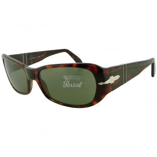 Persol Ladies Havana Sunglasses With Meflecto Flexi Stem And Green Crystal Lenses. Model Number: 2629-S 24 31. Classic rectangular ladies Persol sunglasses with green crystal lens, flexi stem and acetate tortoiseshell frame - a subtle and versatile design with a retro inspired vibe.