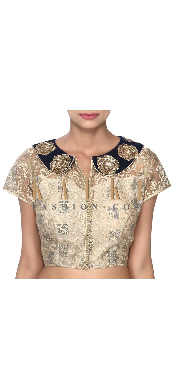 Buy this Gold blouse feautring in peter pan collar only on Kalki