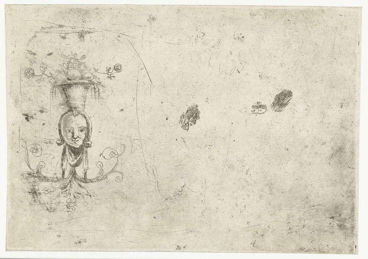 Gellée (genaamd Le Lorrain) , Claude | Ornament met hoofd, Gellée (genaamd Le Lorrain) , Claude, 1628 - 1632 | Een schets van een ornament met een gezicht.