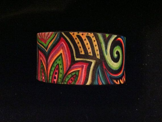 Hand Painted Leather Cuff/Bracelet by HummingbirdTails on Etsy, $35.00