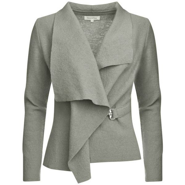 GROA Women's Boiled Wool Jacket - Light Grey (430 PLN) ❤ liked on Polyvore featuring outerwear, jackets, tops, cardigans, coats, light grey, light grey jacket, boiled wool jacket, light gray jacket and lapel jacket