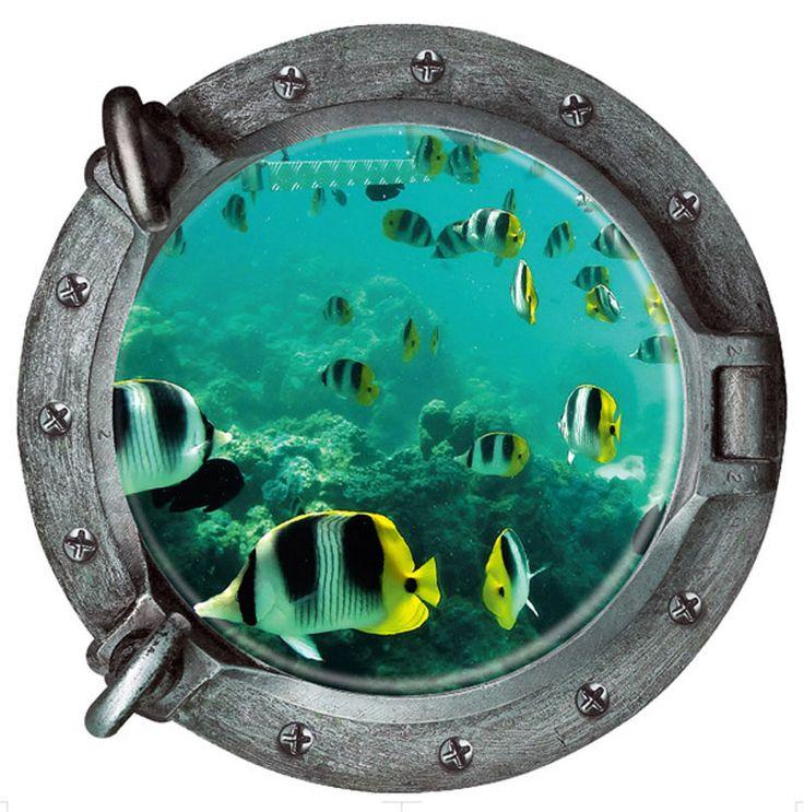 43*43 СМ Рыба 3D Поддельные Подводная Лодка Окна Подводный Мир Стикер Стены home Decor Наклейки На Стены ПВХ обои Дети номер купить на AliExpress