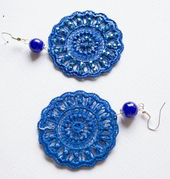 Strass Dangle Earrings Blue  Lace Earring by UnikacreazioniShop