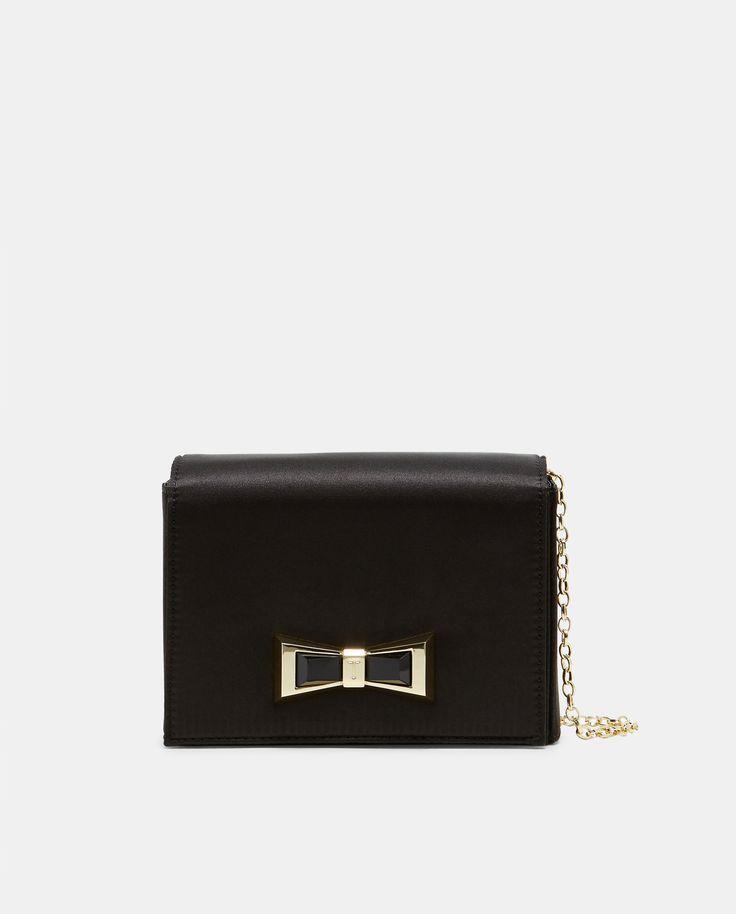 Satin bow detail bag - Black | Bags | Ted Baker
