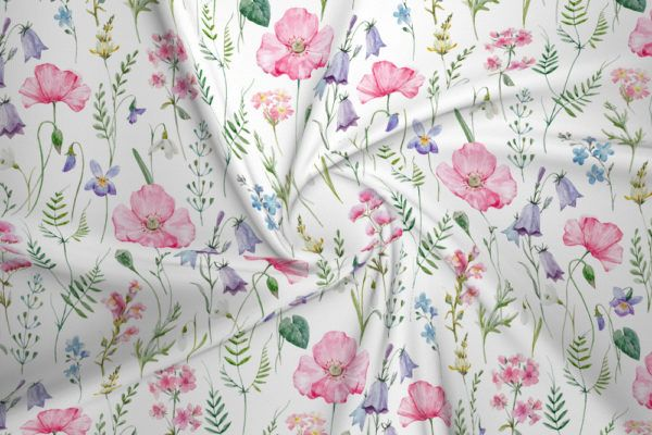 Dzianina Dresowa Drapana Dzwonki I Dzikie Kwiaty Na Bieli House Of Cotton Cosmos Flowers Watercolor Pattern Fabric Houses