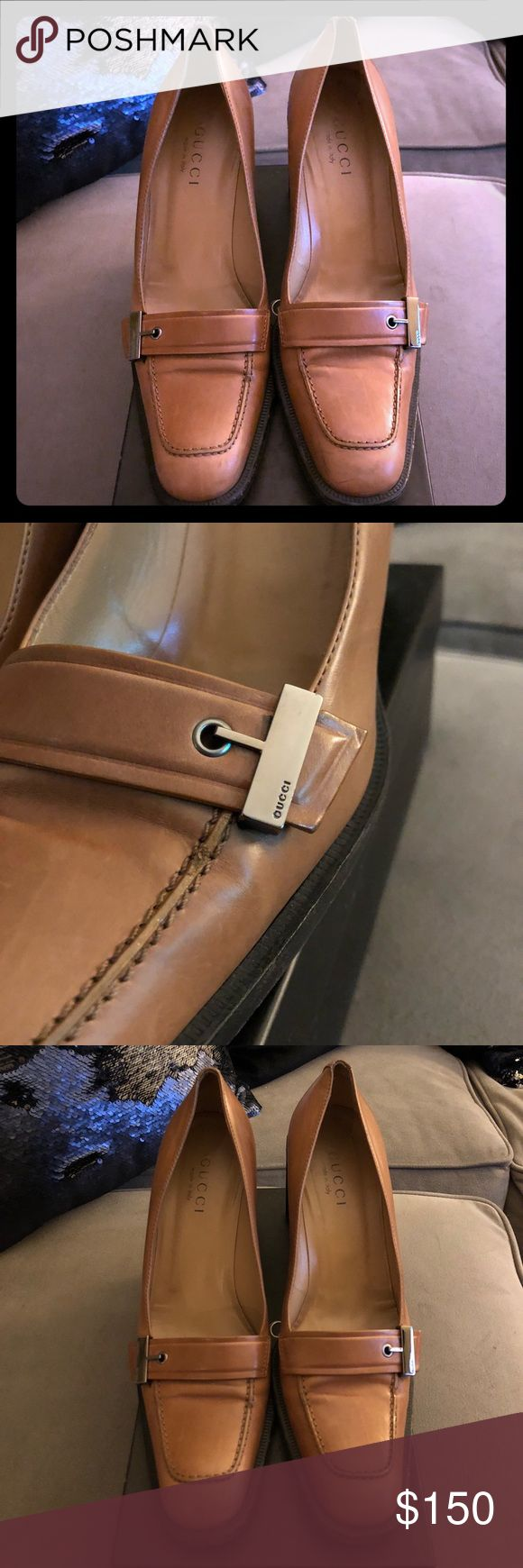 "Gucci Amber Dress Shoes Gently used.  Amber / tan colored leather. Silver hardware says Gucci on it.  3"" heel. A good shoe polish would make these look new!  They look great with dress pants or skirt. Size 9. Fits like an 8.5  Comes with original box and Gucci Logo dust bag. Gucci Shoes Heels"
