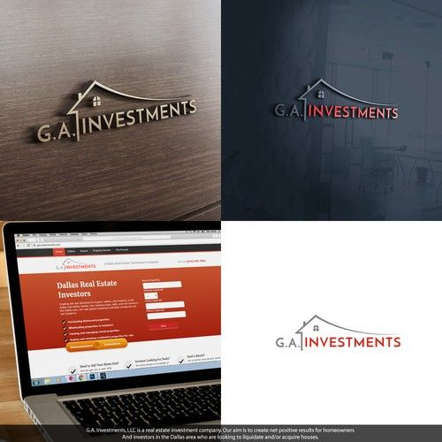 G.A. Investments - design modern Logo package for a real estate company Real estate investment company buying distressed residential properties to rehab, sell, and rent....