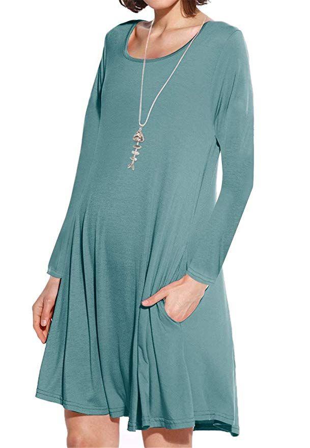 75d65c6d14643 JollieLovin Women's Pockets Long Sleeve Casual Swing Loose Dress (Greyish  Green, 1X)