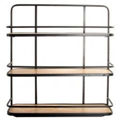 Estanteria pared 3 baldas madera metal negro