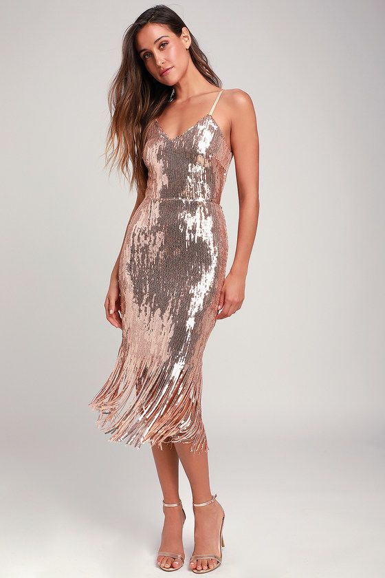 e20ada7e0c Chic Rose Gold Dress - Sequin Dress - Midi Dress - Fringe Dress