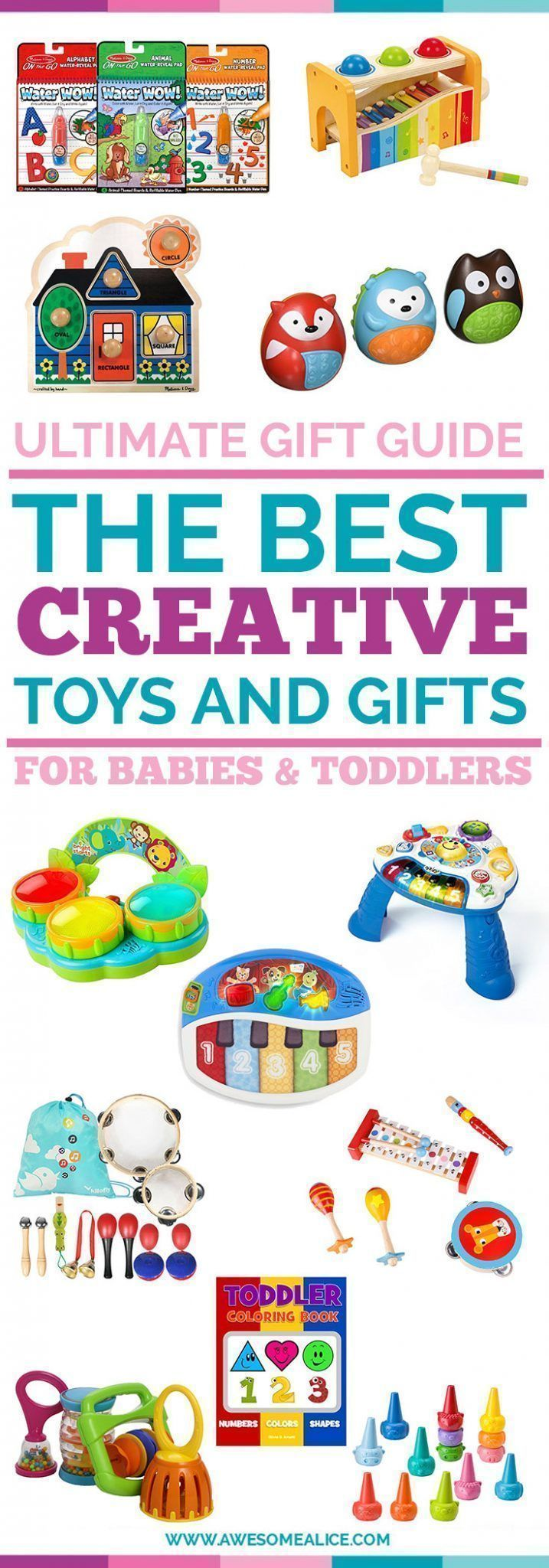 Creative Toys Gift Guide For Babies And Toddlers | Christmas Gifts For Kids | Perfect Christmas Gift For Babies | The Best Toddler Creativity Toys | The Best Baby Music Toys | Toddler Christmas Gift Guide | The Best Kids Gift Guide | Holiday Gifts For Kids | #giftguide | #toddlers | #Christmas | www.awesomealice.com #christmasforkids