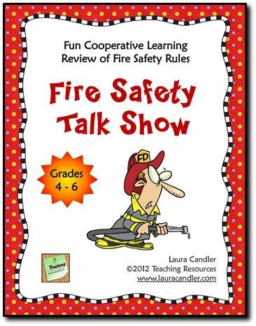 Freebie for Fire Prevention Month! Fire Safety Talk Show activity for grades 4 through 6. Fun cooperative learning activity for reviewing fire safety rules. Students take turns role playing a fire marshal and being the talk show host as they ask and answer questions about fire safety.