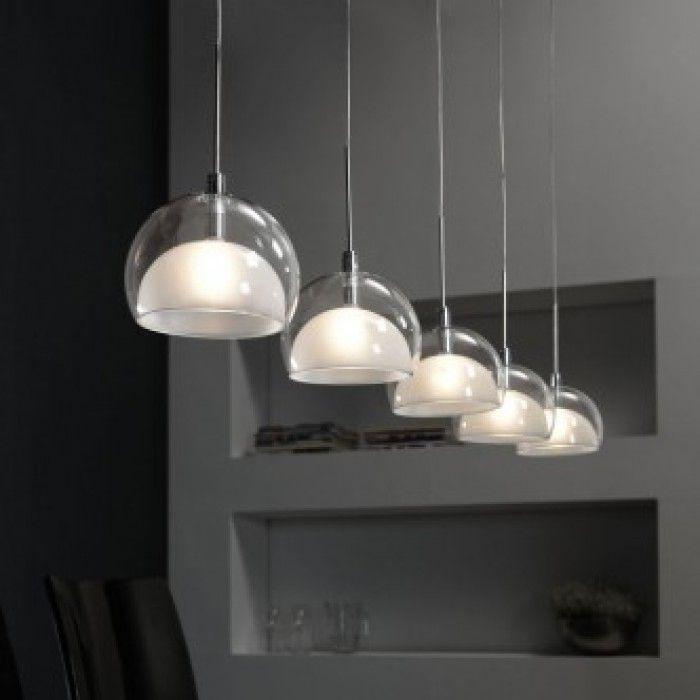 Mooie strakke verlichting - Hanglamp Lido met vijf kappen misschien voor boven de eettafel?