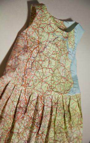 Dress made from maps via jennifer collier