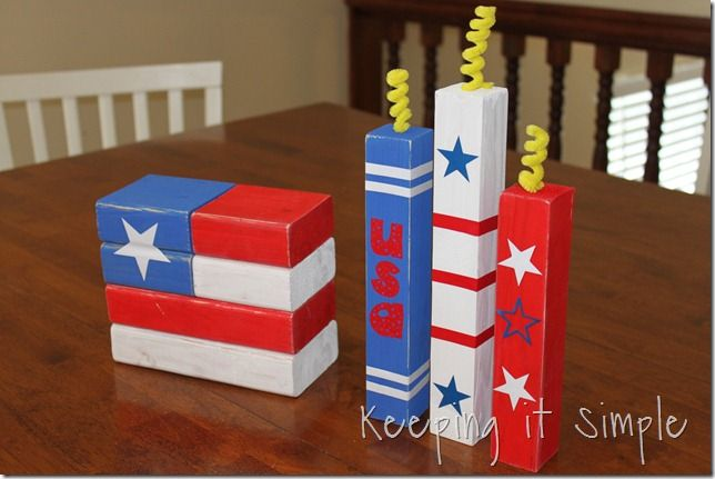 Flag and firecrackers by Keeping it Simple: Wooden Flags, Woodworking Ideas, Grandkids Blocks, Firecracker Crafts, Firecracker Ideas, Crafts Ideas, 2X4 Flags, July 4Th, 2X2 Firecracker