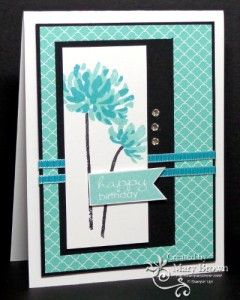SU! Too Kind and Banner Greetings (sentiment) stamp sets; 2013-2015 InColor paper pack; colors are Coastal Cabana and Bermuda Bay - Mary Brown