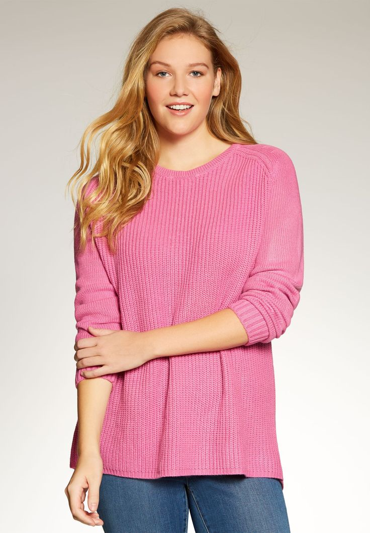 "We took a classic casual sweater and updated the silhouette with a high-low hem. Color your world with an easy care favorite.  our easy fit pullovers are perfect to layer or wear alone 26"" front, 28"" back keeps you cozy to the lower hips crew neckline offers the perfect coverage long sleeves have arm holes expertly shaped for movement high-low hemline soft, washable acrylic knit imported  Women's plus size Shaker sweater in sizes 14W/16W, 18W/20W, 22W/24W, 26W&#x2..."