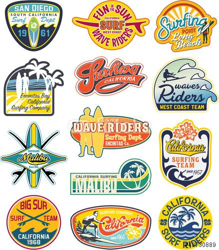 Vecteur California Vintage Stickers Collection