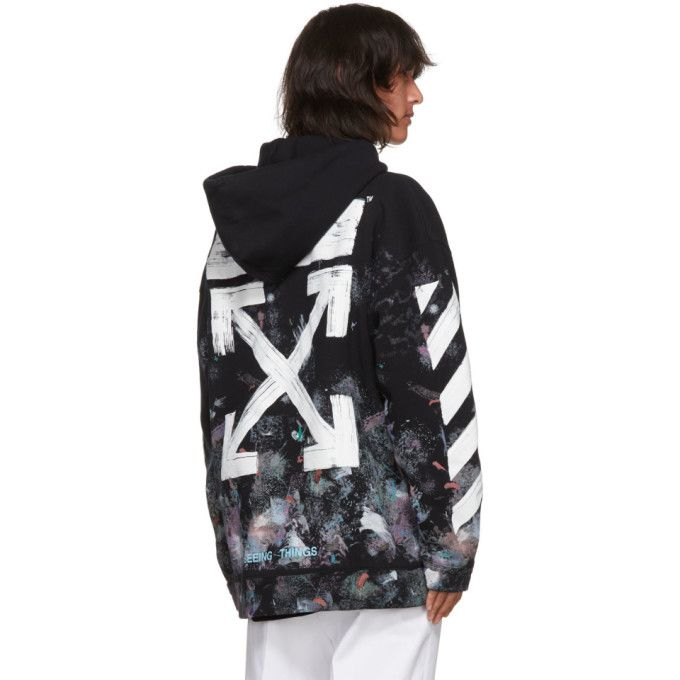 52bee1bdcbd2 OFF-WHITE Ssense Exclusive Black Brushed Diagonal Arrows Galaxy Hoodie