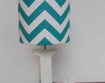 Small Aqua/Turquoise and White Chevron Drum Lamp Shade - Nursery, Girl's or Boy's Lamp Shade