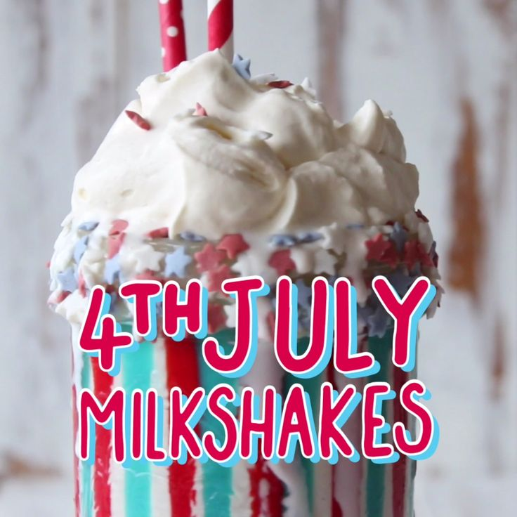 Vanilla Bean milkshake with red white and blue all over!
