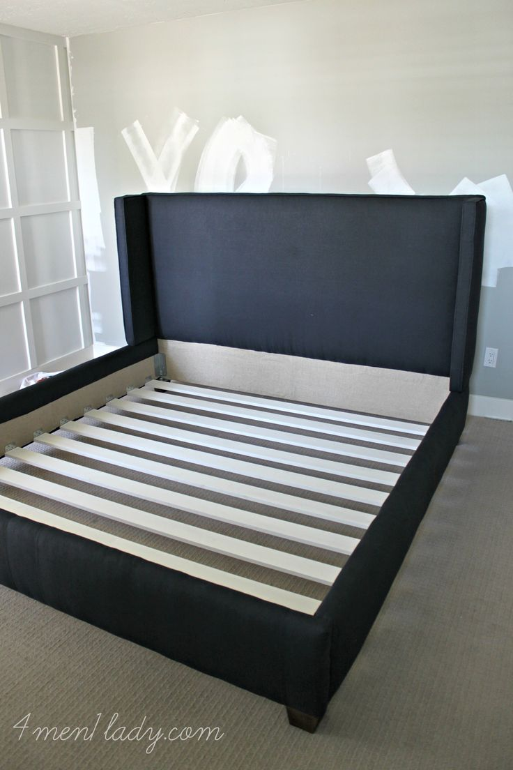 Bed headboard upholstered - You Ve Been Asking And Asking For Our Upholstered Wing Bed Tutorial For