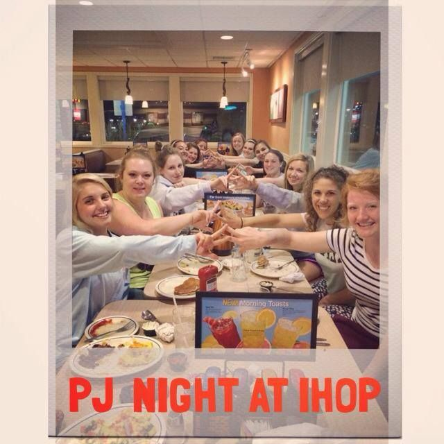 PJ NIGHT AT IHOP! We had a fun sisterhood event eating yummy breakfast food with our house mom to help relieve some stress of finals!