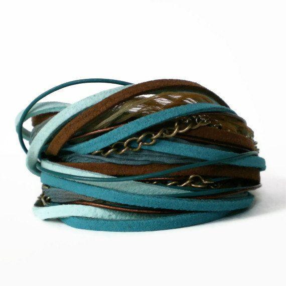 boho wrap bracelet, silk ribbon, suede, leather, turquoise, brown, rocker, triple wrap