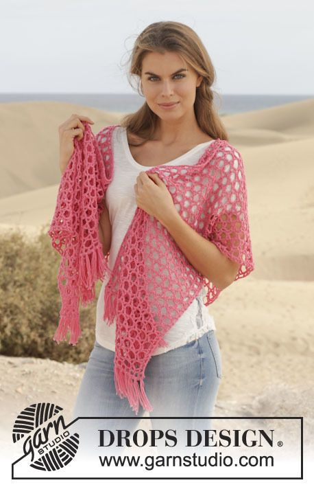 154-11, Crochet shawl with star pattern in Cotton Merino