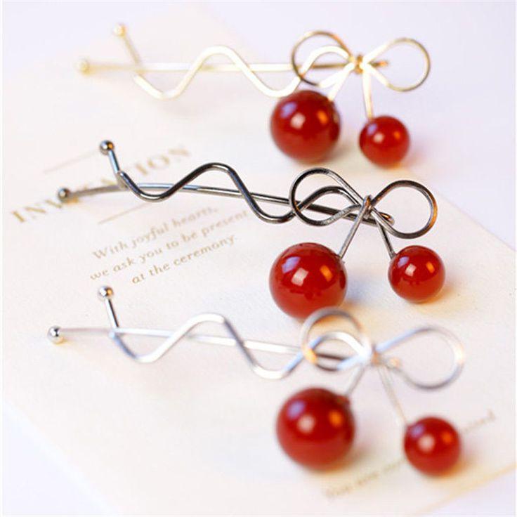 Fashion Girl Hot Twist Hair Clip Red Cherry Shaped Bowknot Hairpin Barrette Headwear Hair Accessories