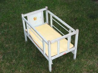 Vintage Shabby Happi Time Decal Wood Toy Baby Doll Crib Cradle Bed ...