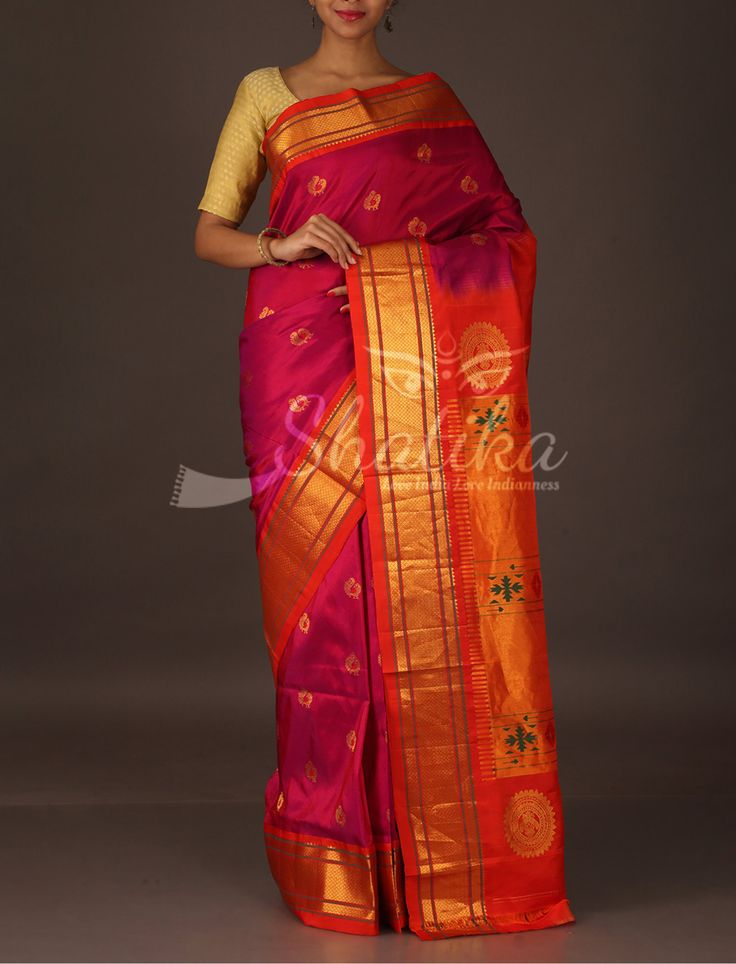 Supriya Peacock Motifs Oblique Border Pure #PaithaniSilkSaree