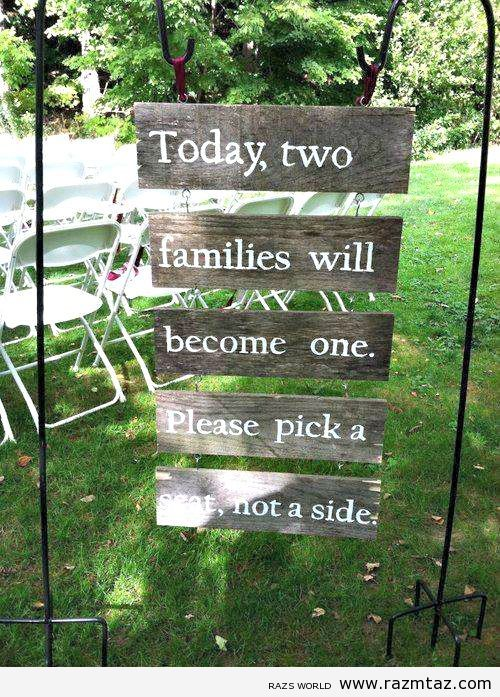 LOVE this sign at a wedding entrance... no awkward moments because everyone is introducing themselves