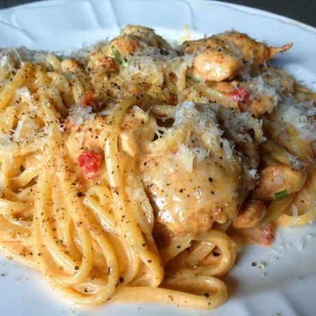 Creamy Cajun Chicken Pasta. Fantastic. Of course, I didn't really follow the measurements, and I used milk and cornstarch instead of heavy cream to keep the calories down. Definitely will be making again...... not my quote,  but will try that