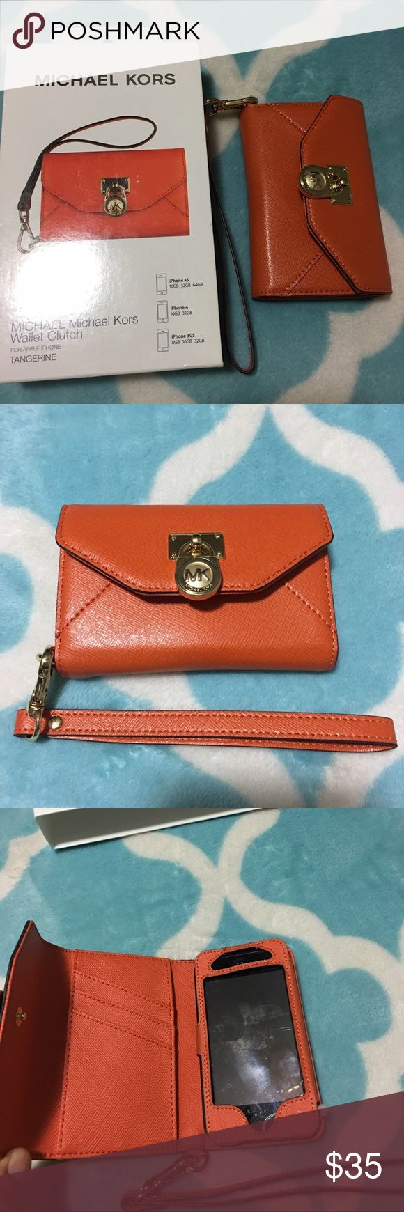 Micheal Kors Wallet Clutch for Apple IPhone Micheal Kors Wallet Clucth for Apple IPhone 3 and 4 but it is also for IPod. It is tangerine color. IPod is not included. KORS Michael Kors Accessories Phone Cases