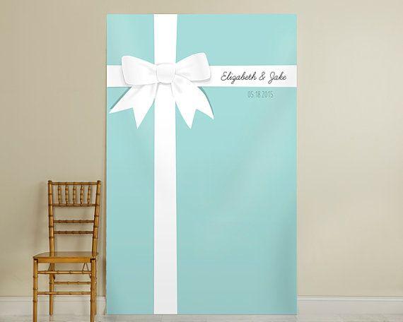 Personalized Something Blue Photo Backdrop, Ceremony Background, Tiffany Blue Decoration, Photo Booth Props