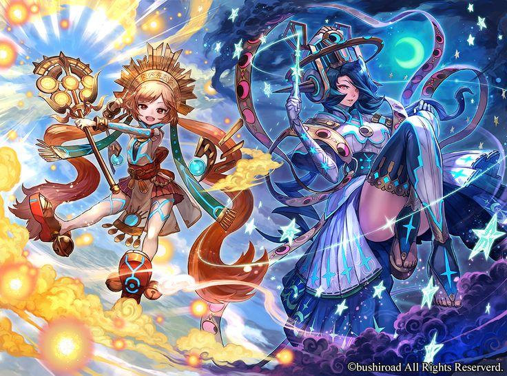 カードファイト!!ヴァンガード 「女神の円舞曲」にて制作させていただいた 昼と夜の女神の双闘カード「真昼の神器 ヘメラ」「真夜中の神器 ニュクス」です。 神話などでは母子の設定がある2キャラなので、セットで非常に楽しく製作出来ました。 ヴァンガード公式HP:http://cf-vanguard.com/