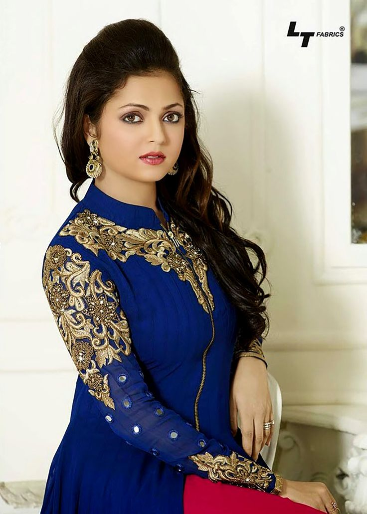 Elegant Blue Color Georgette Plazzo Anarkali Suit @ GaneshFashion Buy Now: http://buff.ly/1NJMF8E Rs. 2949/- #FreeShipping in India #AnarkaliSuits, #SalwarSuits