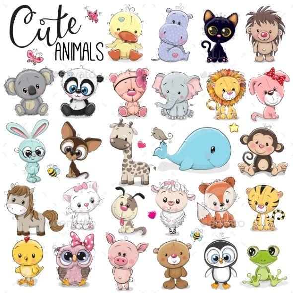 Set Of Cartoon Animals Animals Characters Baby Animal Drawings Cartoon Baby Animals Cartoon Drawings Of Animals