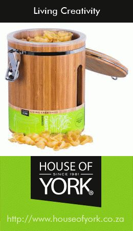 House of York's bamboo storage cannister with a window is eco-friendly and great for storing spices and pasta. It could also be the perfect gift for a shower or housewarming! From only R149.95. #bamboo #cannister #kitchen #ecofriendly#HouseofYork