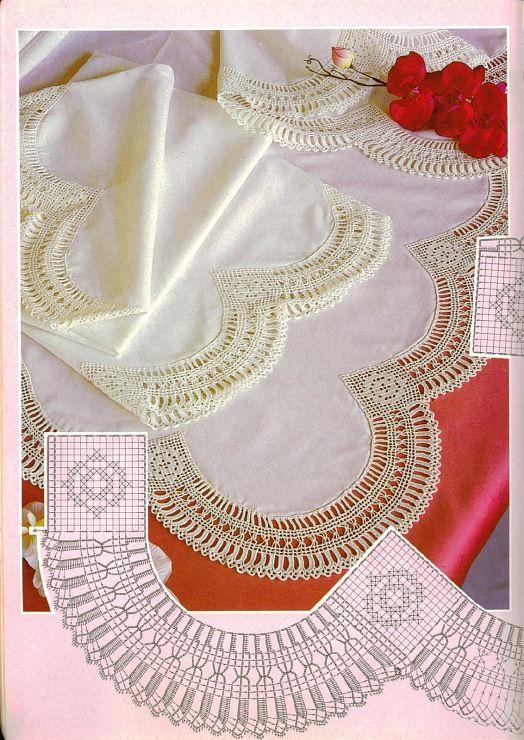 Wunderschöne Bogenborte ..Filethäkeln Häkeln Bordüre Spitzen - crochet lace border BARRADOS DE CROCHÊ: