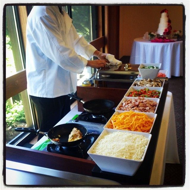 Attractive Made To Order Omelette Bars Are The Perfect Compliment To A Brunch Buffet.  A Great Choice For Your Morning Wedding. *Maybe Do This With A Crepe Bar?