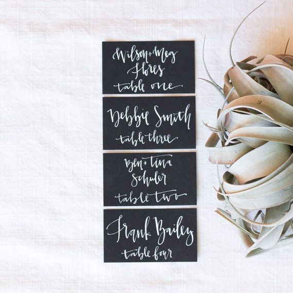 White and Black Place Card Calligraphy by afabulousfete on Etsy - Stationery (($))