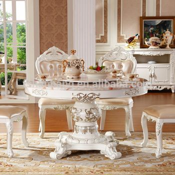 china cheap baroque round white marble top dining table - Cheap Dining Tables
