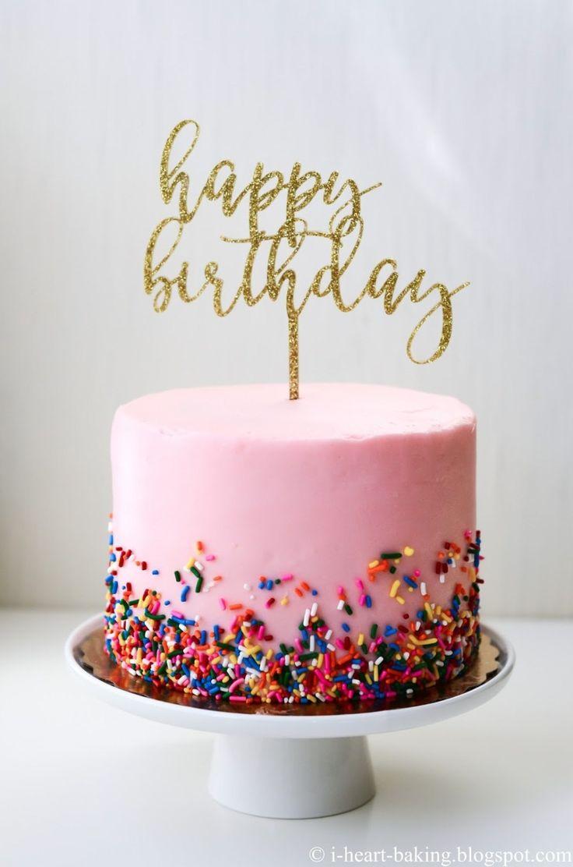Gold geburtstagstorte i herz backen rosa streusel geburtstagstorte mit gold gebur …   – Birthday Cakes