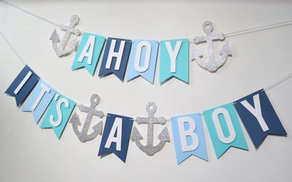 Ahoy es un ancla de plata Teal Aqua azul claro azul marino Boy náutica bebé ducha Sip y ver bebé asperja Banner
