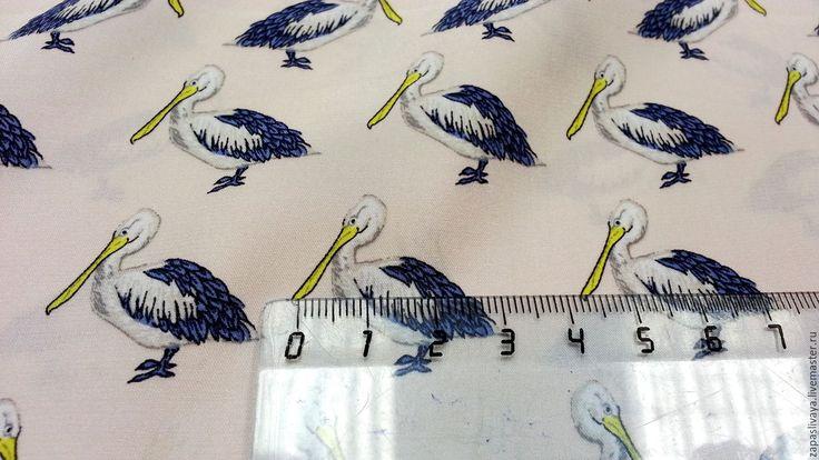 Купить Шелк Пеликанчики - комбинированный, купить в москве, купить ткань, шелк с принтом, принт на ткани