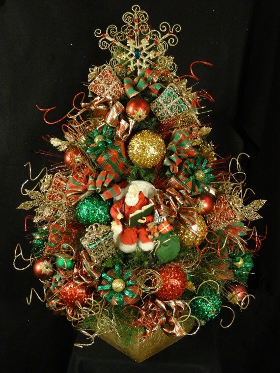 So Festive...Amazing Small Decorated Lighted Christmas tree in red, green and gold featuring Santa making his list and gifts!